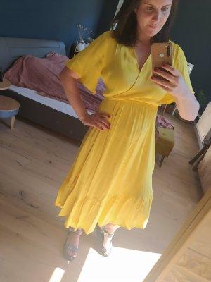 YAS Abito a balze giallo