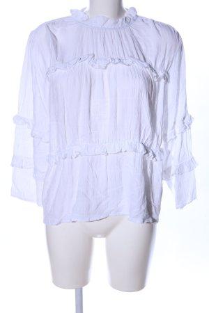y.a.s Blusa con volantes blanco elegante