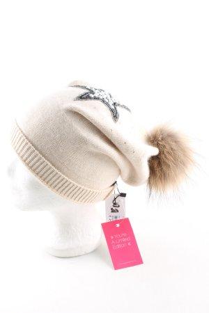 Y & D Sombrero de tela blanco puro-crema estampado temático look casual