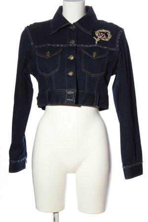 Y London Jeansjacke blau-creme Motivdruck Casual-Look