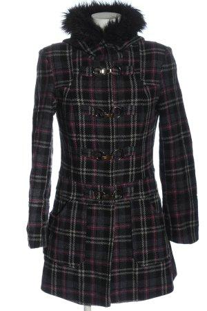 Y.O.U. Manteau à capuche gris clair-rose motif à carreaux style décontracté