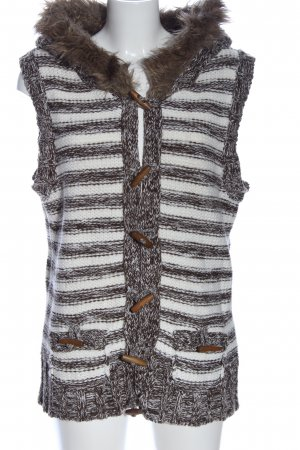Y.O.U. Smanicato con cappuccio marrone-bianco motivo a righe stile casual