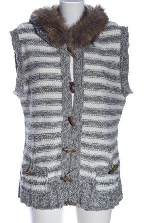 Y.O.U. Smanicato con cappuccio bianco-grigio chiaro motivo a righe stile casual