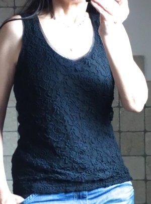 Haut en dentelle noir tissu mixte