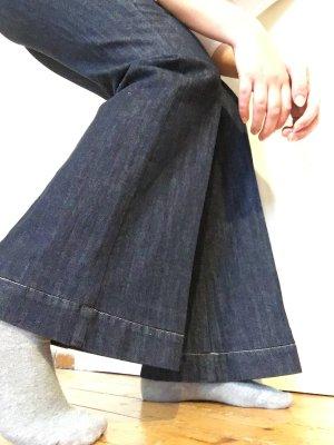 True Vintage Pantalon pattes d'éléphant bleu foncé