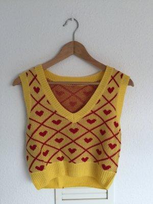 Vintage Sweter bez rękawów z cienkiej dzianiny żółty-czerwony