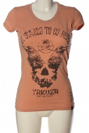Yakuza Print Shirt light orange-black themed print casual look