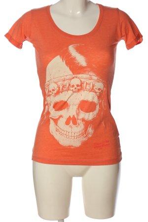 Yakuza Print Shirt light orange-cream themed print casual look