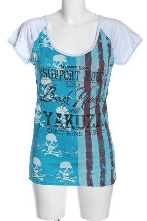 Yakuza Print Shirt blue-white themed print casual look