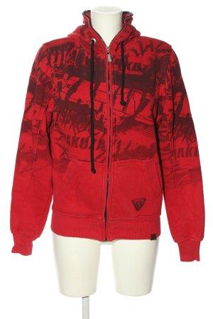 Yakuza Sweat Jacket red printed lettering casual look