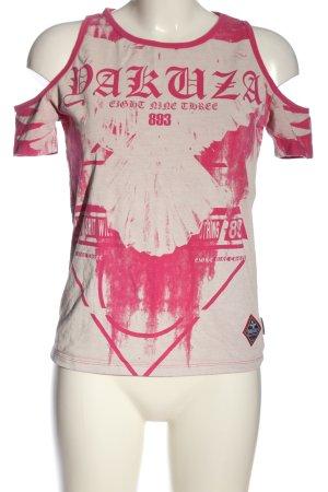 Yakuza T-shirt rosa-bianco sporco Stampa a tema stile casual