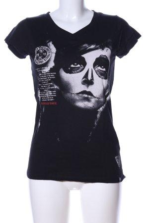 Yakuza V-Ausschnitt-Shirt schwarz-hellgrau Motivdruck Casual-Look