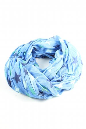 Yam Yam Shoulder Scarf blue-white allover print casual look