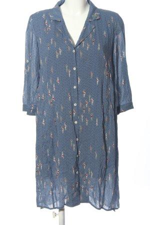 Yargici Hemdblusenkleid blau-creme abstraktes Muster Casual-Look
