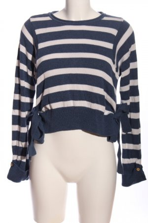 Yargici Rundhalspullover blau-weiß Streifenmuster Casual-Look