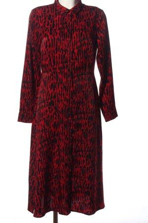 YAS Blusenkleid schwarz-rot abstraktes Muster Casual-Look