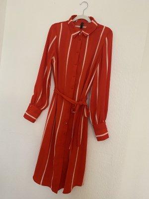 YAS Blouse Dress dark orange-white