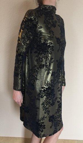 Yas Kleid schwarz gold glänzend mit Samt Blumen Gr.S Langarm