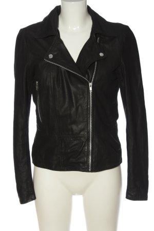YAS Veste en cuir synthétique noir style décontracté