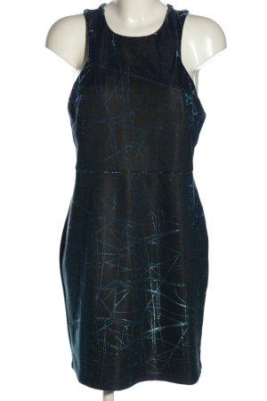 YAS Minikleid schwarz-blau abstraktes Muster Casual-Look