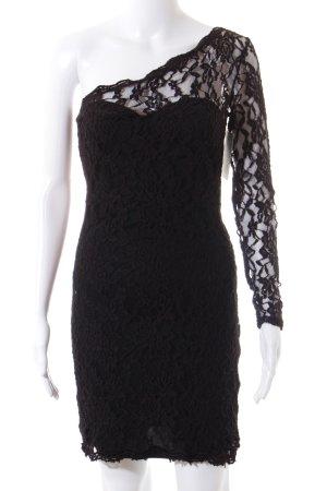 YAS One-Shoulder-Kleid schwarz Spitzenbesatz