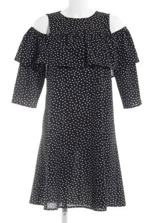 YAS schulterfreies Kleid weiß-schwarz Punktemuster
