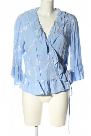 YAS Wraparound Blouse blue-white flower pattern business style