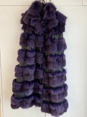 Fur vest lilac-black