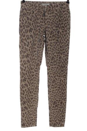 Yaya Pantalone di velluto a coste bianco sporco-marrone stampa integrale