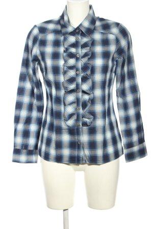 Yaya Rüschen-Bluse weiß-blau Karomuster Casual-Look
