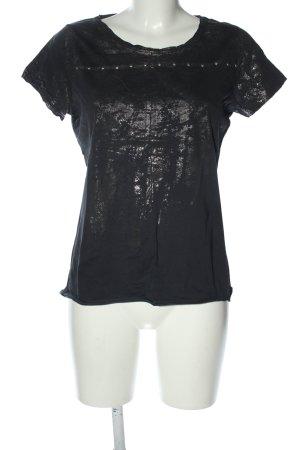 Yaya T-shirt nero-argento motivo astratto stile casual