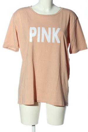 Yaya T-Shirt nude Schriftzug gedruckt Casual-Look