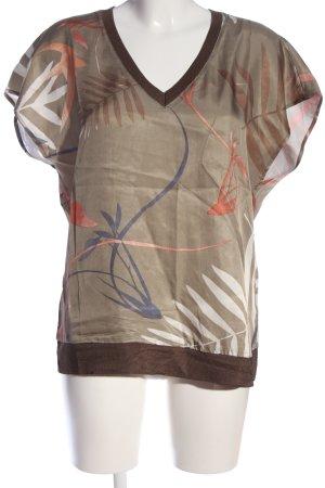 Yaya V-Ausschnitt-Shirt grafisches Muster Casual-Look
