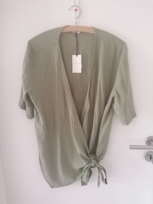 Yaya Wraparound Blouse lime-green