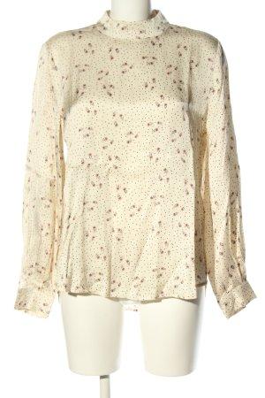 YAYAWoman Blusa brillante bianco sporco-marrone stampa integrale stile casual