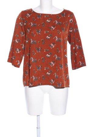 Ycoo Paris Kurzarm-Bluse rostrot Blumenmuster Elegant