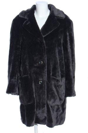 Yell Manteau de fourrure noir style décontracté