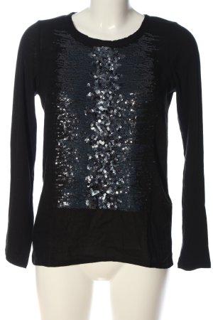 Yerse Langarm-Bluse schwarz-silberfarben Casual-Look