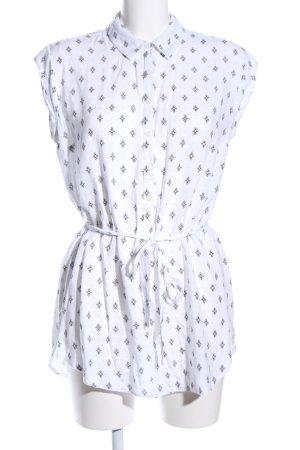 Yessica ärmellose Bluse weiß-schwarz Allover-Druck Casual-Look