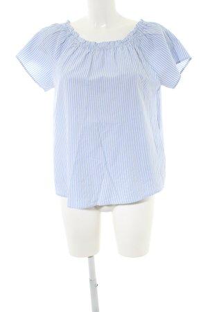 Yessica Blusa alla Carmen blu-bianco motivo a righe stile casual