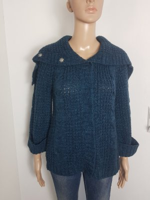Yessica Coarse Knitted Jacket dark blue