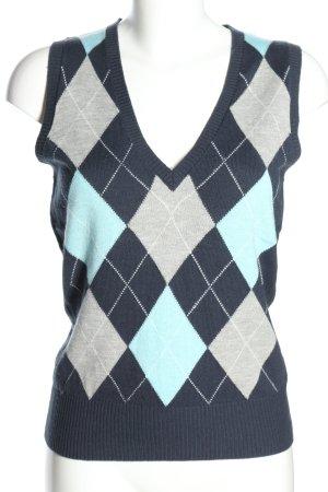 Yessica Sweter bez rękawów z cienkiej dzianiny Wzór w kratkę W stylu casual