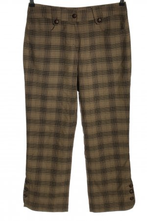 Yessica High Waist Trousers brown check pattern Ornamental buttons