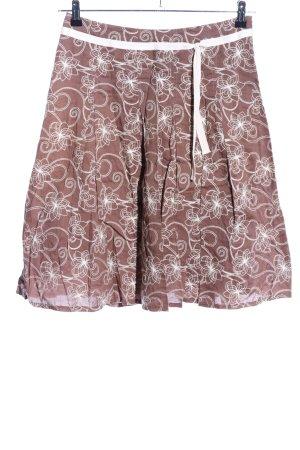 Yessica Jupe taille haute brun-blanc imprimé allover style décontracté