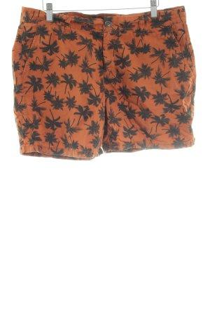 Yessica Hot Pants hellorange-schwarz Allover-Druck schlichter Stil