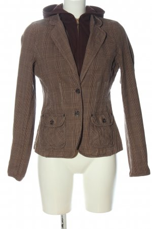 Yessica Hooded Coat brown check pattern casual look