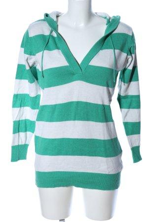 Yessica Kapuzenpullover weiß-grün Streifenmuster Casual-Look