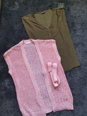 Yessica Gilet long tricoté rose clair-kaki