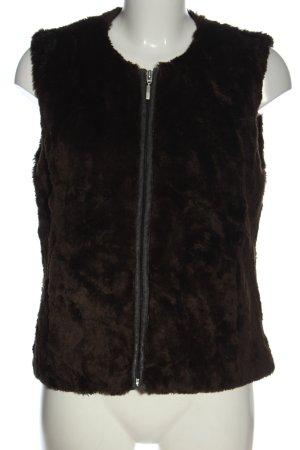 Yessica Chaleco de piel sintética marrón look casual