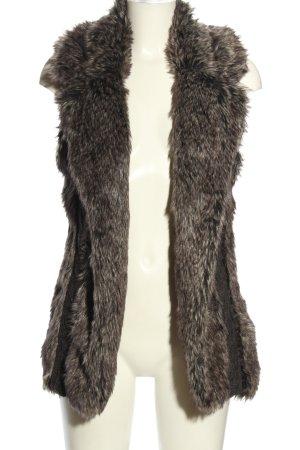 Yessica Kamizelka ze sztucznym futrem jasnoszary Warkoczowy wzór W stylu casual